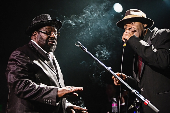 George Clinton with vocalist Steve Boyd in Seattle in 2013.